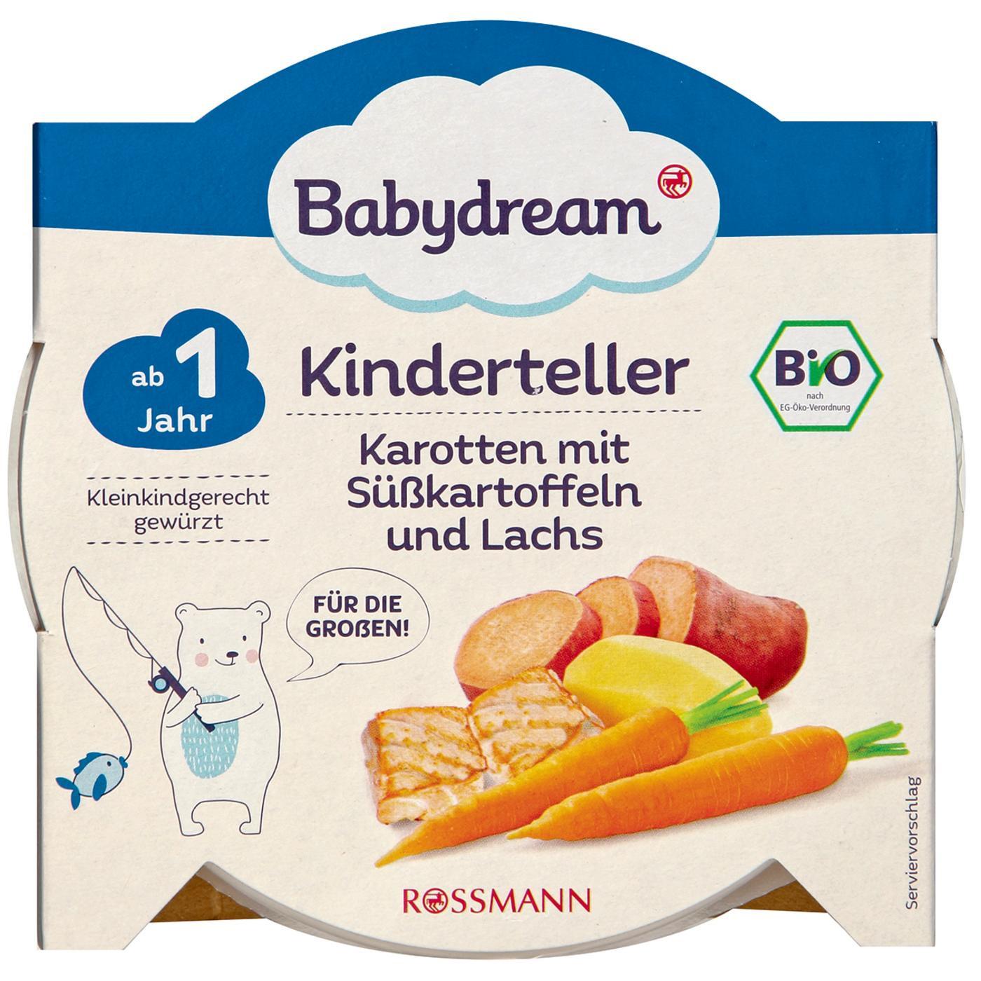 6d6c29d72b28e4 Babydream Bio Kinderteller Karotten mit Süßkartoffeln   Lachs ...