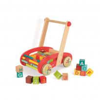 Holzwagen ABC mit 30 Bausteinen und Rechenschiebe